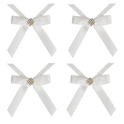 Diamond Buckle Ivory Bands For Votive Candle - 4pcs