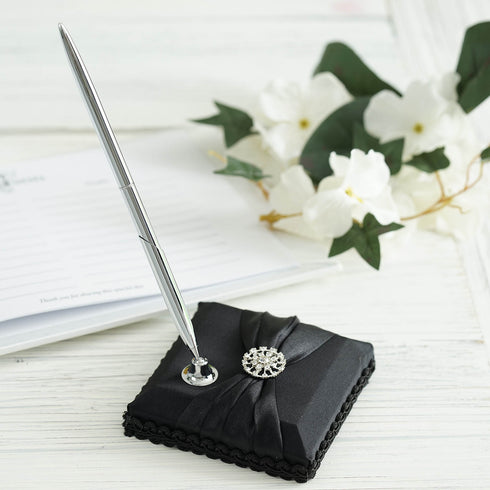 Black Rhinestone Handcrafted Pen Set