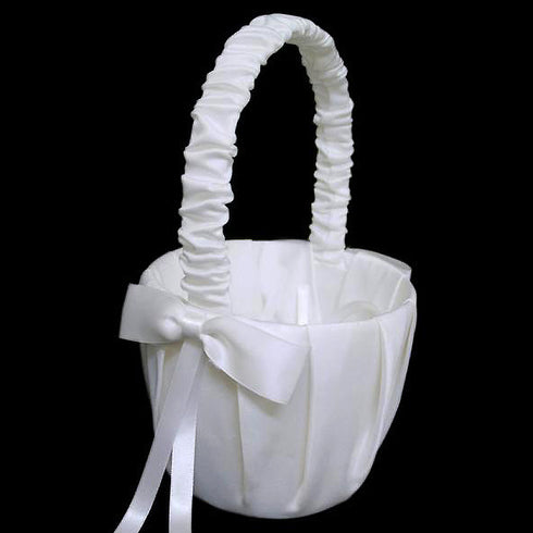 Bow Ribbon Girl Basket - White