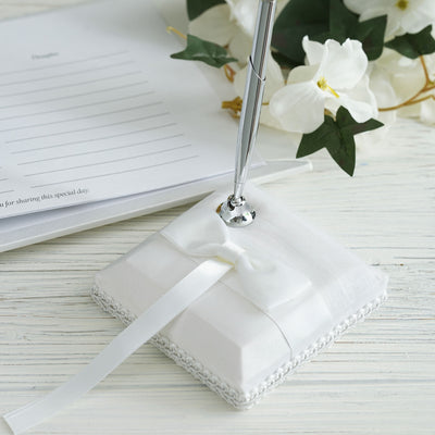 White Bow Ribbon Handcrafted Pen Set
