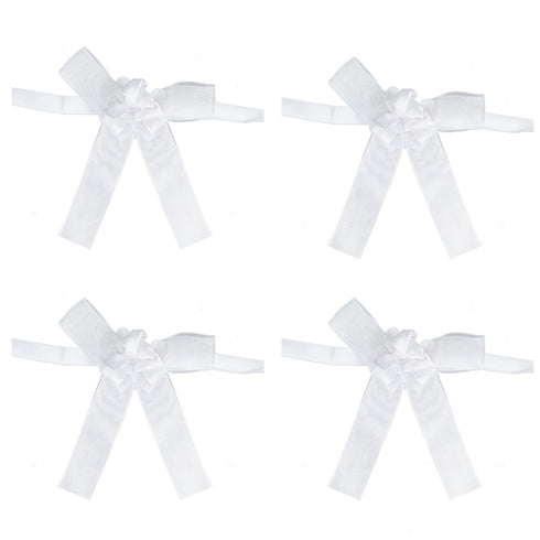 Triple Rose White Bands For Votive Candle - 4pcs