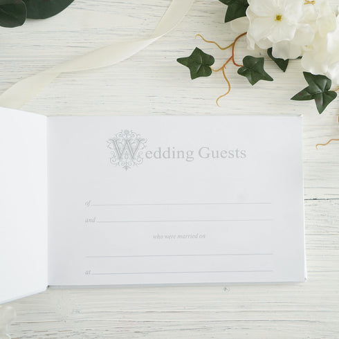 White Double Hearts Handcrafted Guest Book