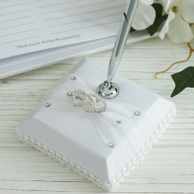 White|Silver Double Hearts Pen Set with Embedded Rhinestones