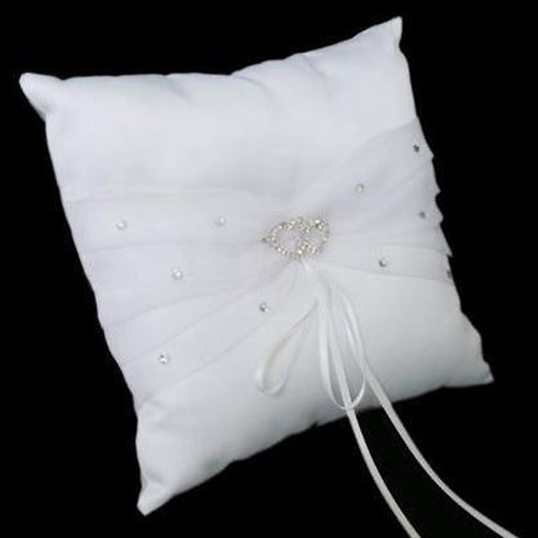 Deluxe Double Hearts Ring Pillow - White