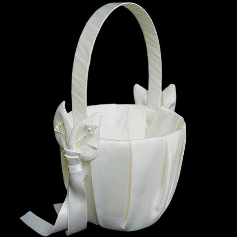 Deluxe Calla Lily Flower Girl Basket - White