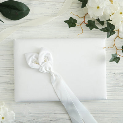 Calla Lily Handcrafted Guest Book - White