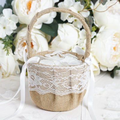 Natural Color Wedding Banquet Rustic Burlap and Floral Lace Drawstring 10 Pack