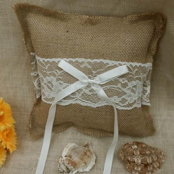 "7"" Natural with White Floral Lace Jute Burlap Ring Bearer Pillow"