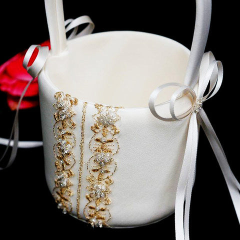 Royalty Collection Flower Girl Basket - IVORY