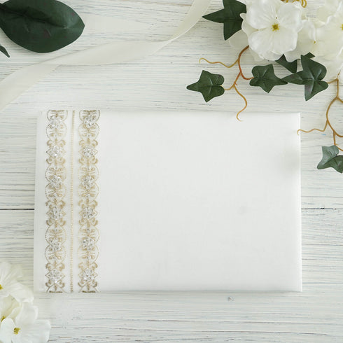 Ivory Double Trimmed Handcrafted Guest Book