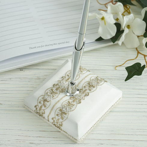 Ivory Double Lace Trimmed Pen Set
