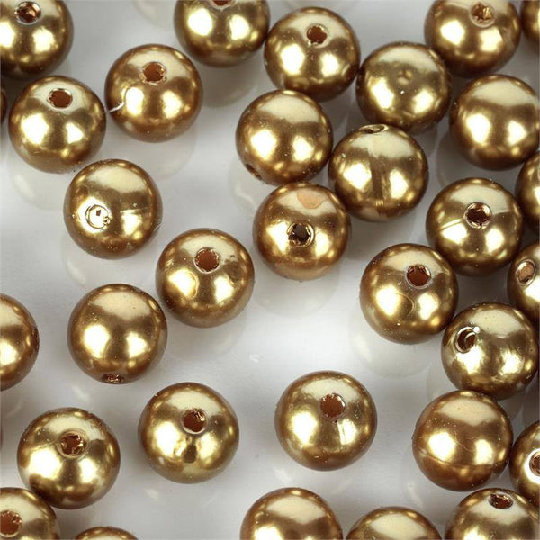 1000 Pack 10mm Gold Faux Pearl Beads Vase Fillers