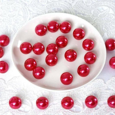 120 Pack 20mm Red Faux Pearl Beads Vase Fillers Efavormart