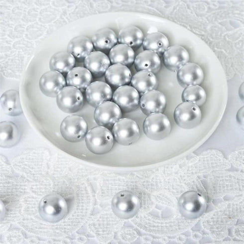 120 Pack 20mm Silver Faux Pearl Beads Vase Fillers