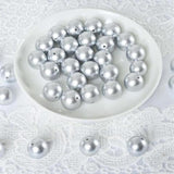 120 PCS 20mm Large Silver Faux Pearl Beads