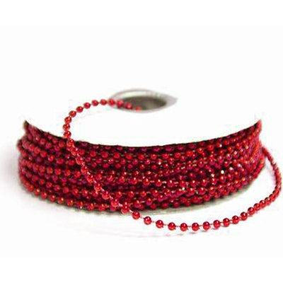 24 Yards 3mm Red Faux Pearl Beads