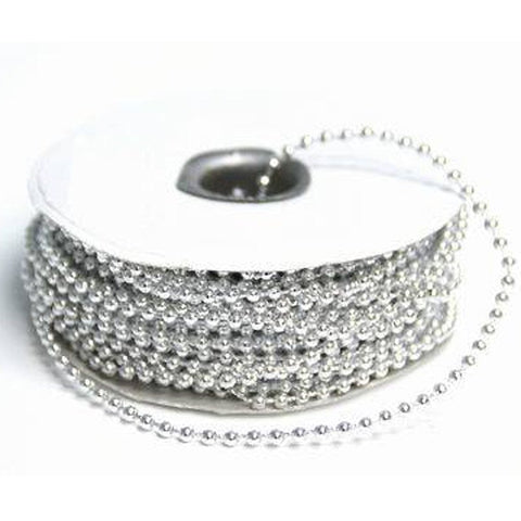 3mm String Beads-Silver-24yds