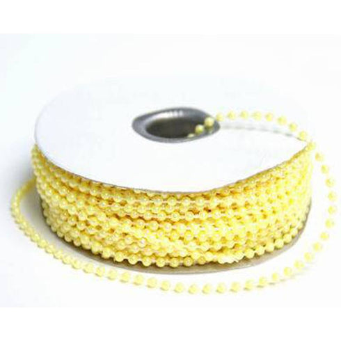 24 Yards 3mm Yellow Faux Pearl Beads
