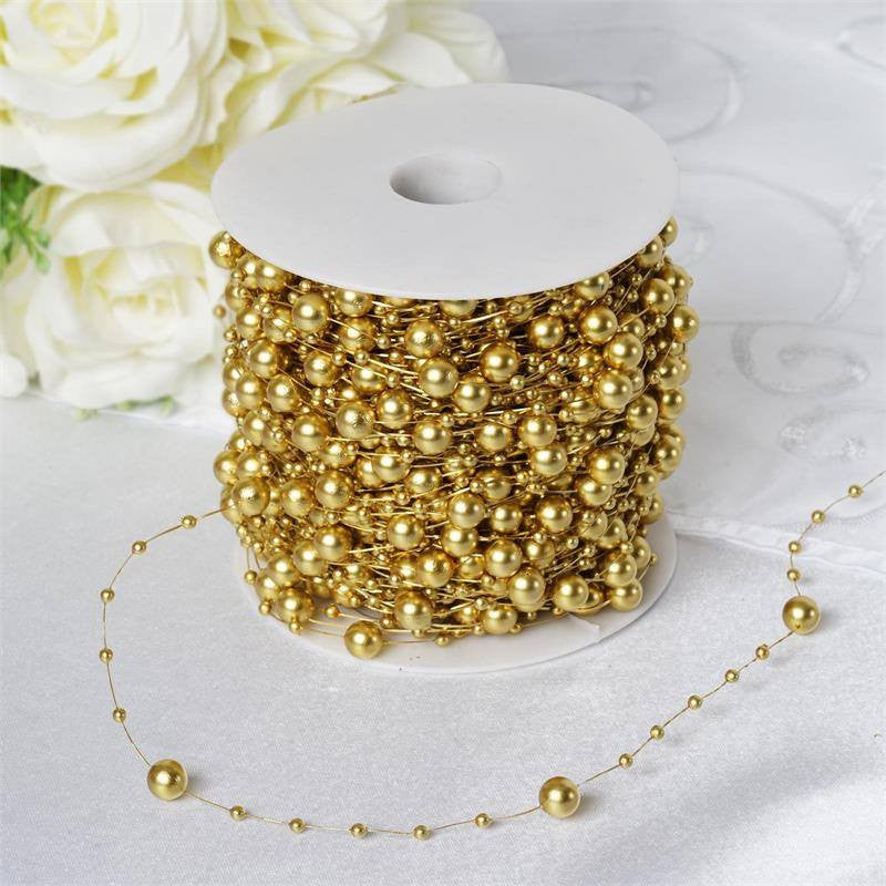 62 FT Gold Pearl Garland String for Wedding Bridal Corsages ...