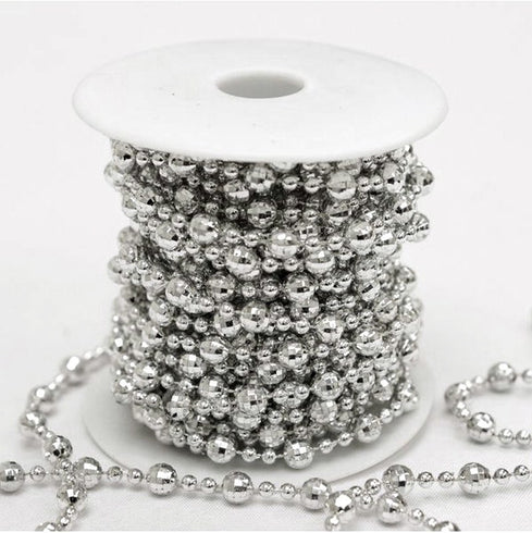 10 Yards 9mm Shiny Silver DIY Faux Bead Strand