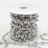 9mm Formal Shiny Beads Strand - 10yards Silver