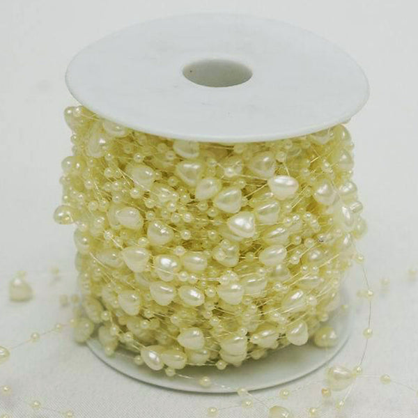 62 Yards 9mm Ivory Pearl Heart Strand Beads Garland