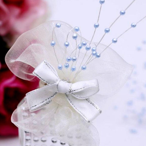 144pcs Baby Blue Pearl Beads Wire Stems