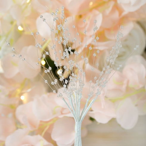 144 PCS Clear Pearl Beads Wire Stems