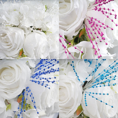 144 PCS Fushia Pearl Beads Wire Stems
