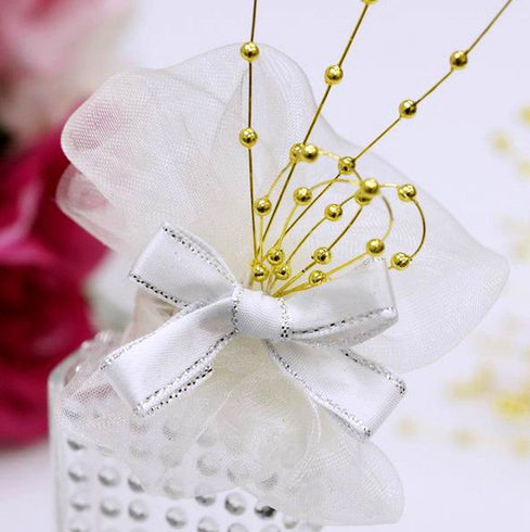144pcs Gold Pearl Beads Wire Stems