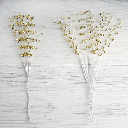 144 PCS Gold Pearl Beads Wire Stems