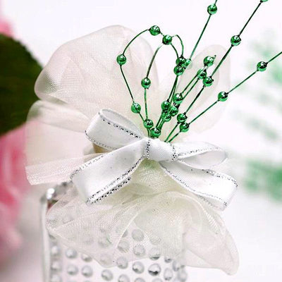 144pcs Green Pearl Beads Wire Stems