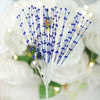 144 PCS Navy Blue Pearl Beads Wire Stems
