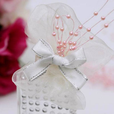 144pcs Pink Pearl Beads Wire Stems