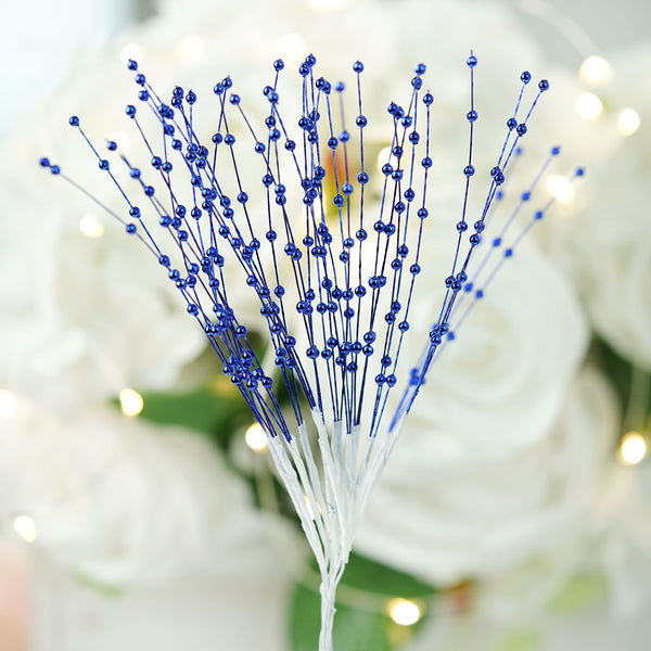 144 PCS Royal Blue Pearl Beads Wire Stems