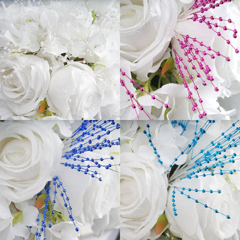 144 PCS Silver Pearl Beads Wire Stems