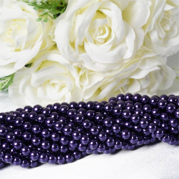 10 Pack | 8mm Large Purple Faux Pearl Beads