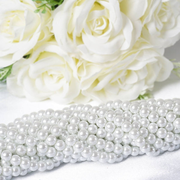10 Pack | 8mm Large White Faux Pearl Beads