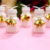 Set of 24 | Gold Wedding Favor Bells | Mini Kissing Wedding Bells | Cowbell Party Decoration with Attached Ribbon
