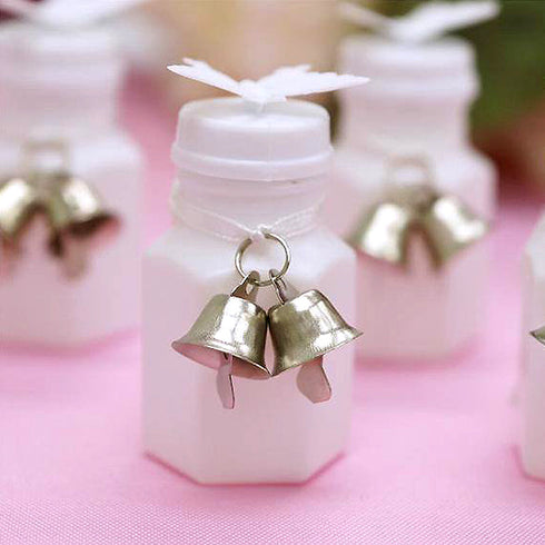 Tie-on Bells for Bridal Bubbles Favor-12 sets /pk-Silver