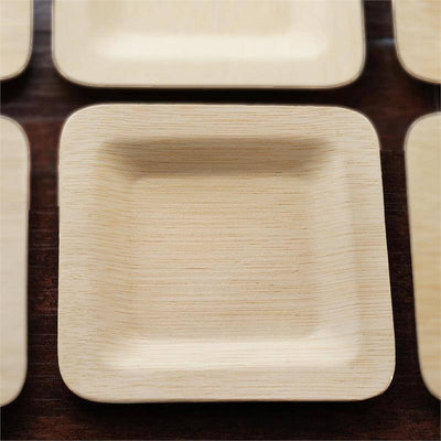 "10 Pack - Sleek Bamboo 7"" Square Plates"