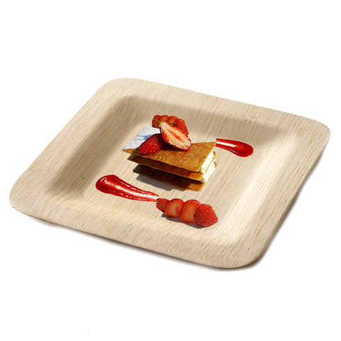 "10 Pack 7"" Sleek Bamboo Disposable Square Salad Dessert Plates"