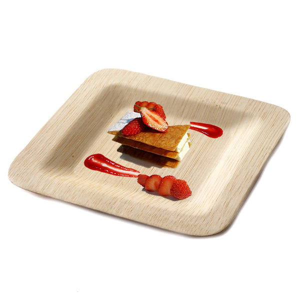 "10 Pack - 7"" Eco Friendly Sleek Bamboo Disposable Square Salad Dessert Plates"