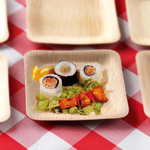 Bamboo Plates, Salad Dessert Plates, Compostable Plates