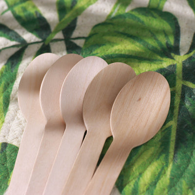 100 Pack - Environmentally Friendly Disposable Birchwood Spoons