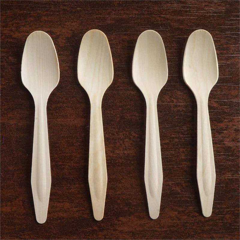 100 Pack - Eco-friendly Disposable Birchwood Long Handled Spoon