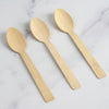 "25 Pack - 7"" Eco Friendly Chic Disposable Bamboo Spoons, 100% Natural Bamboo Flatware"