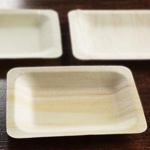 "25 Pack - Contemporary Eco-friendly Birchwood 4.75"" x 3.75"" Rectangle Plate"