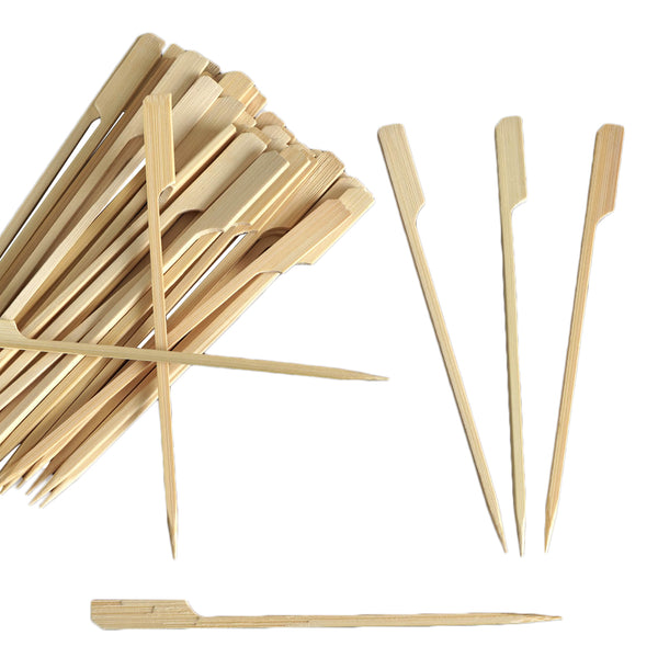 "100 Pack - 6"" Eco Friendly Paddle Shaped Bamboo Skewers, Cocktail Picks"