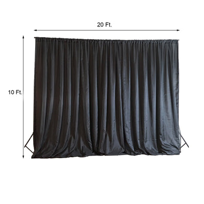 20ftx10ft Black Double Layer Polyester Chiffon Backdrop With Rod Pockets